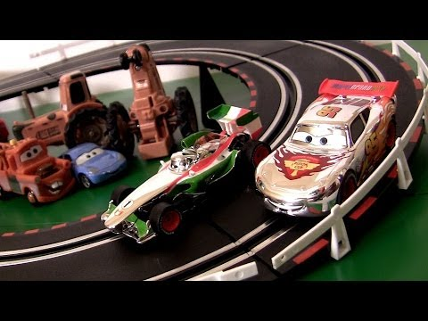 Carrera Cars 2 Silver Chrome Lightning McQueen Francesco Bernoulli Racing Track Disney slot cars