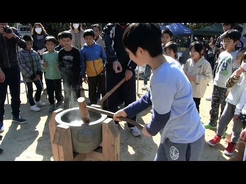種子島のふるさと情報:上西小学校PTA伊勢神社お正月もちつき大会2018年