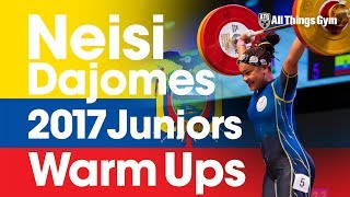 Neisi Dajomes (75kg) Full Warm Up Session 108kg Snatch 134kg C&J 2017 Junior World Champion