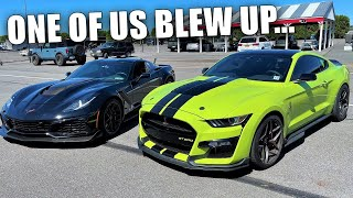 Mustang Fanboy Says His 1,300HP GT500 Will BEAT My 1,000HP ZR1!!! *ENGINE EXPLOSION*