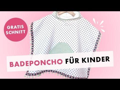 Badeponcho für Kinder nähen - Gratis Schnittmuster und Stoffe im Sale!