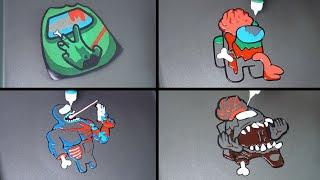 Among us zombie Pancake Art
