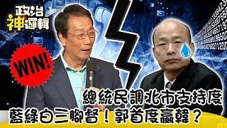 《政治神邏輯》2020總統民調北市支持度 藍綠白三腳督!郭首度贏韓?