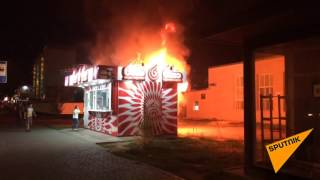 Огонь охватил киоск по продаже фаст-фуда в центре Астаны