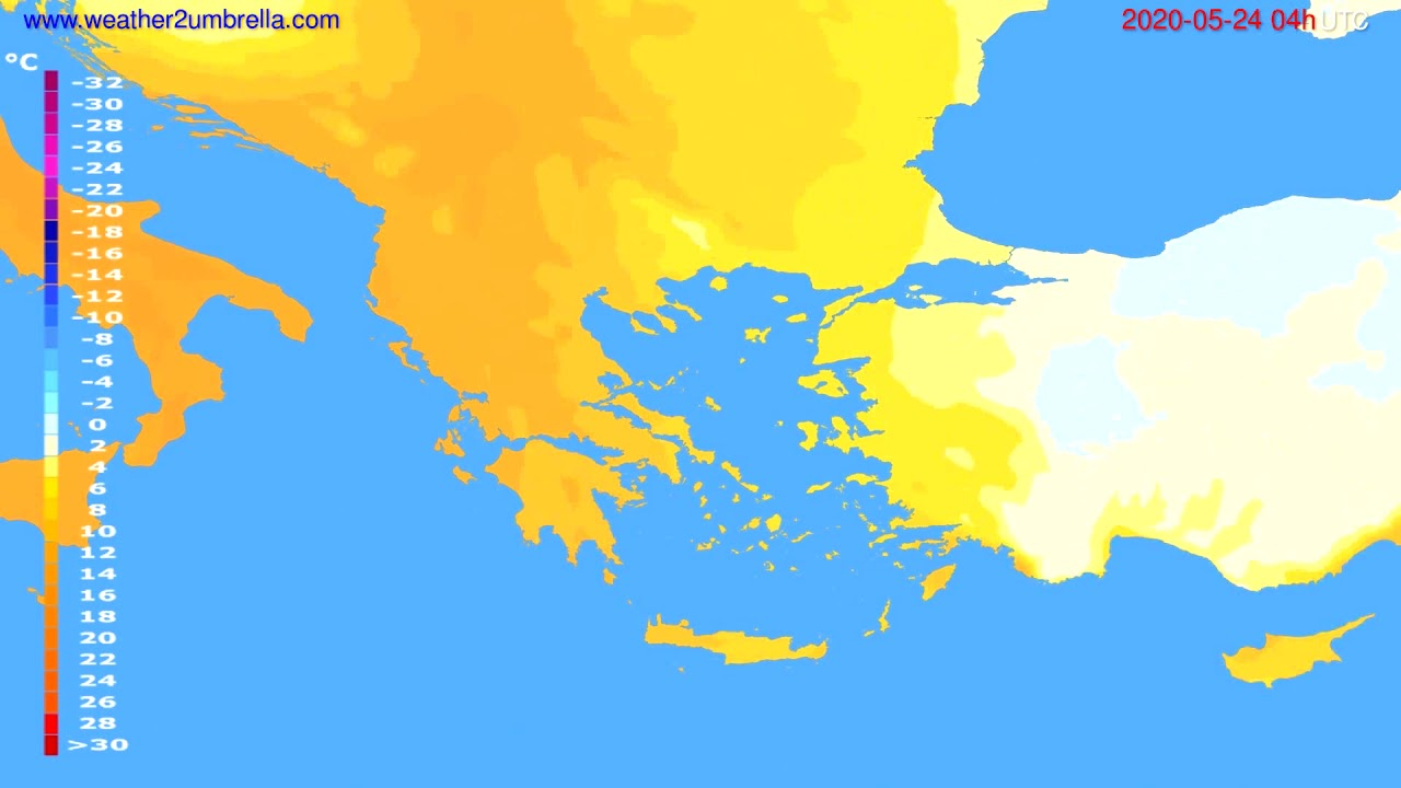 Temperature forecast Greece // modelrun: 12h UTC 2020-05-23