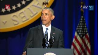 "Crowd cries ""four more years"" during Obama"