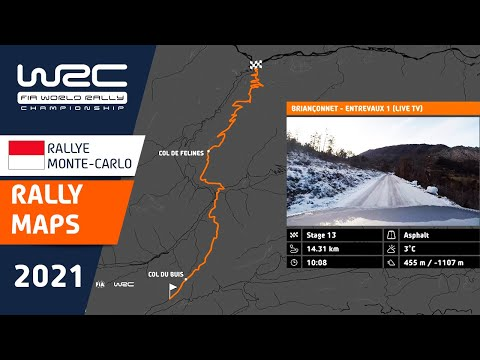 WRC(世界ラリー選手権)2021年の開幕戦のラリーモンテカルロの全コースを紹介する動画