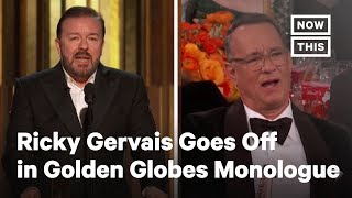 Ricky Gervais held absolutely. nothing. back. in his 5th and 'final' Golden Globes monologue. » Subscribe to NowThis: http://go.nowth.is/News_Subscribe » Sign up for our newsletter KnowThis to get the biggest stories of the day delivered straight to your inbox: https://go.nowth.is/KnowThis  In US news and current events today, NowThis News is featuring the savage Ricky Gervais Golden Globes monologue from last night's Golden Globe awards. According to Ricky Gervais, Golden Globes 2020 will be his last time hosting so he held nothing back. In the Ricky Gervais monologue, he went after Apple, Harvey Weinstein, Jeffrey Epstein, and more. Tom Hanks' face says it all.  #RickyGervais #GoldenGlobes #Hollywood #News #NowThis #NowThisNews  Connect with NowThis » Like us on Facebook: http://go.nowth.is/News_Facebook » Tweet us on Twitter: http://go.nowth.is/News_Twitter » Follow us on Instagram: http://go.nowth.is/News_Instagram » Find us on Snapchat Discover: http://go.nowth.is/News_Snapchat  NowThis is your premier news outlet providing you with all the videos you need to stay up to date on all the latest in trending news. From entertainment to politics, to viral videos and breaking news stories, we're delivering all you need to know straight to your social feeds. We live where you live.  http://www.youtube.com/nowthisnews @nowthisnews