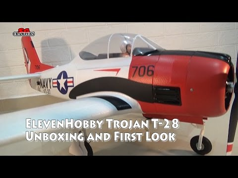 "Eleven Hobby T-28 T28 Trojan 1100mm 43"" Wingspan PNP RC Warbird Unboxing And First Look"