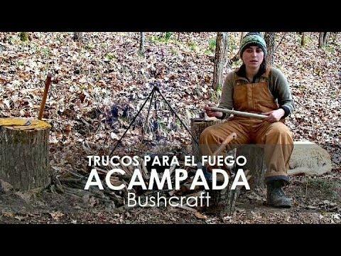 Acampada bushcraft y cocina natural con fuego 🔥🔥🔥 3 trucos faciles DIY Cooking Stick