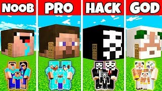 Minecraft: FAMILY HEAD BLOCK HOUSE BUILD CHALLENGE - NOOB vs PRO vs HACKER vs GOD in Minecraft