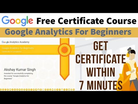 Google Free Certificate Course   Google Analytics for Beginners ...