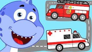 Мультик про машинки. Динозавр, скорая помощь, пожарная машина. Развивающие мультики