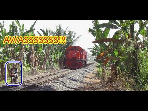 LIHATLAH! APA YANG TERJADI Saat Kereta Api Sumatera Mau Lewat