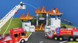 Playmobil Film deutsch: Feuerwehrmann löscht Polizei Gefängnis   Kinderfilm / Kinderserie