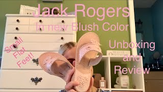💗JACK ROGERS UNBOXING AND REVIEW IN THE NEW BLUSH COLOR (SMALL FLAT FEET)💗