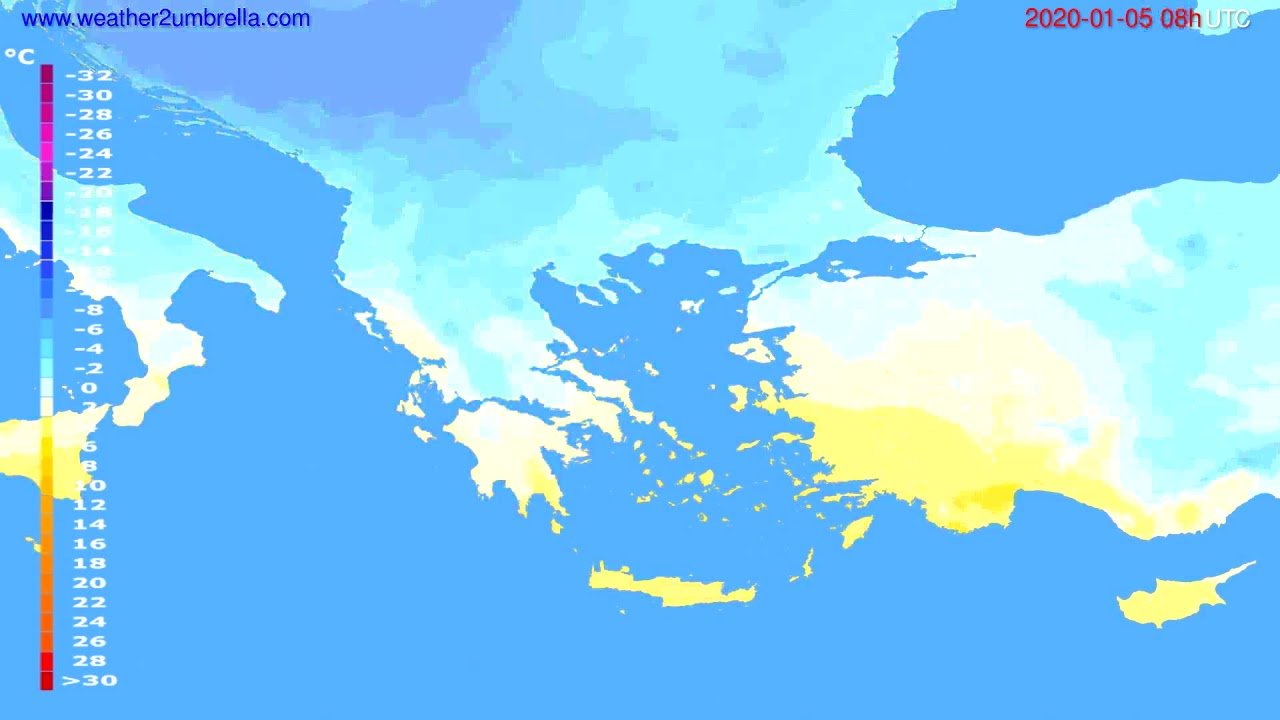 Temperature forecast Greece // modelrun: 12h UTC 2020-01-04