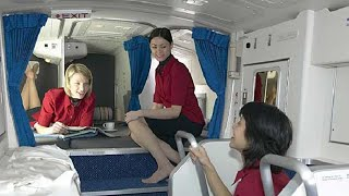 Secret rest cabin for pilots and flight attendants; Spare engine on Boeing 747 - Compilation