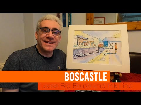 Thumbnail of Loose Big Brush and ink line watercolour demonstration - Boscastle