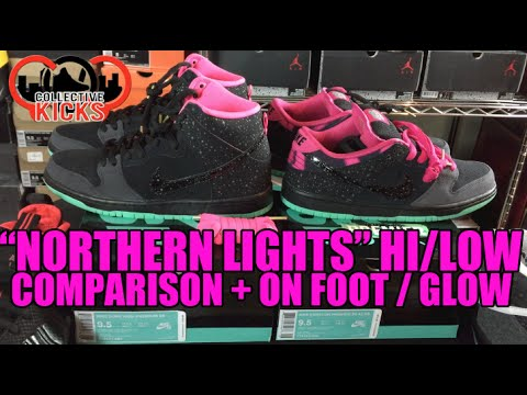 timeless design ccd04 0fc14 Nike Dunk SB Premier Northern Lights Comparison High   Low + Glow Test   On  Foot! - Hes Kicks