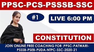 LIVE 6:00 PM INDIAN POLITY CLASS-1 || FOR #POLITY_PCS_PATWARI_PSSSB_POLICE_SI_SSC_NTPC - Download this Video in MP3, M4A, WEBM, MP4, 3GP