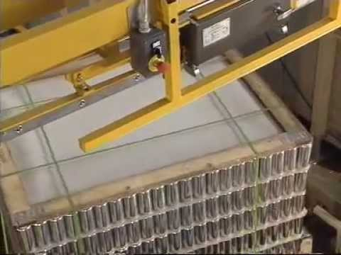 Strapping machine to strap pallets of empty cans | From Trio Packaging Systems