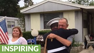 Marine Surprises Marine Grandfather For His Birthday