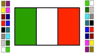How to Drawing National Flag of Italy || Coloring Learn for Kids Step by Step Draw Italian Flag Art