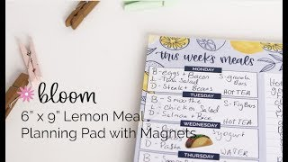 Bloom Daily Planners® Meal Planning Pad With Magnets, Lemons