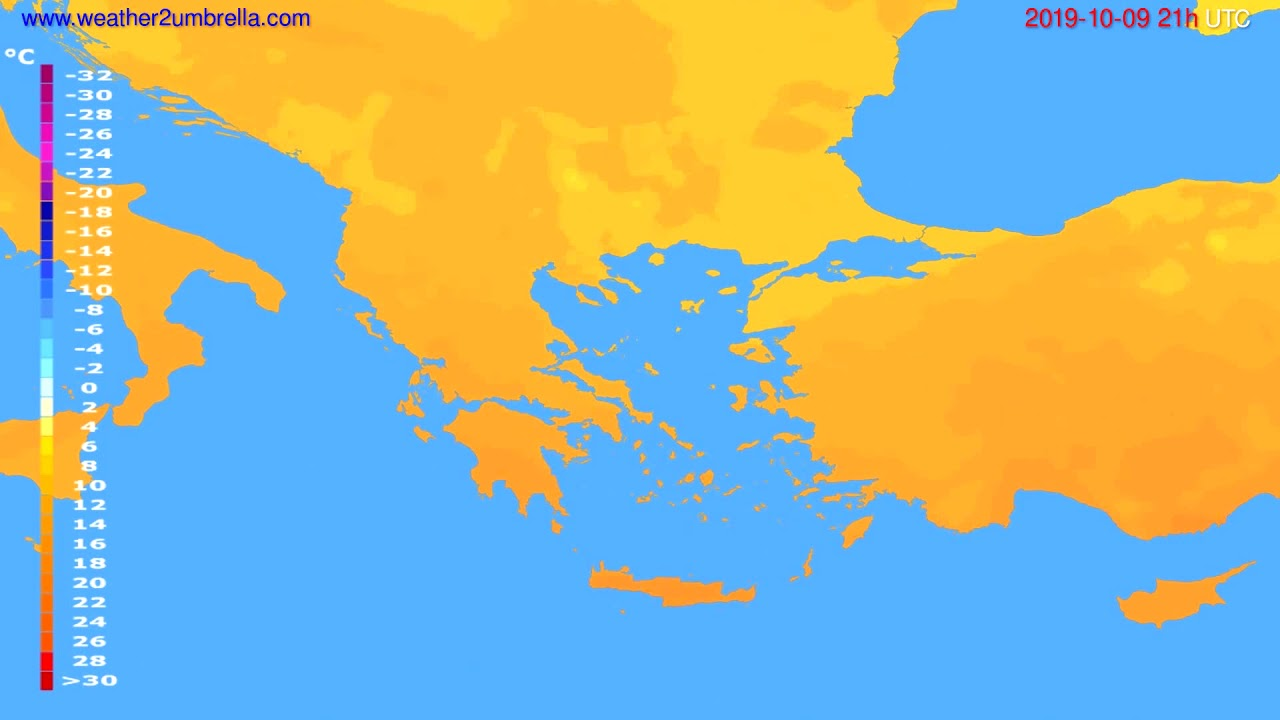 Temperature forecast Greece // modelrun: 00h UTC 2019-10-08