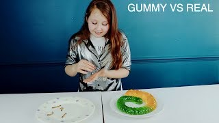 REAL FOOD VS GUMMY FOOD CANDY!! *EATING LIVE WORMS*