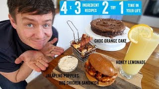 4 x 3 Ingredient recipes 2 try 1 time in your life! Part 1