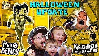 HELLO BENDY + NEIGHBOR & the INK MACHINE Halloween Mod! FGTEEV-ers LETS CELEBRATE! Surprise Gameplay