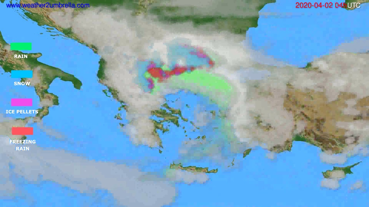 Precipitation forecast Greece // modelrun: 12h UTC 2020-04-01