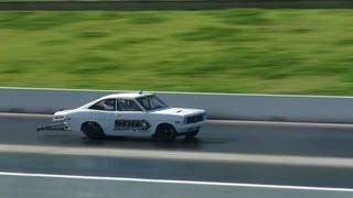 SDR MOTORSPORT 13B TURBO DATSUN COUPE RUNS A NEW PB 7.27 @ 181 MPH AT SYDNEY DRAGWAY 14.7.2012