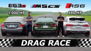 [Throttle House] 2022 BMW M5 CS vs 1000hp AMG E63S vs 880hp Audi RS6 // DRAG & ROLL RACE