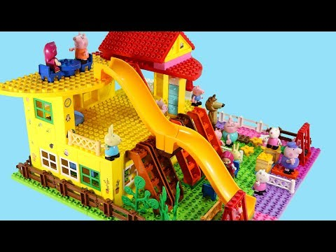 Peppa Pig Blocks Mega House LEGO Creations Sets With Masha And The Bear Legos Toys For Kids #42