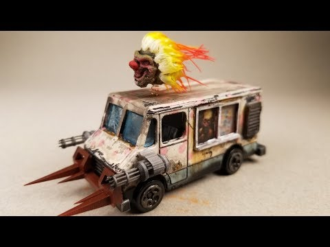Guy makes custom hot wheels sweet tooth van from twisted metal.