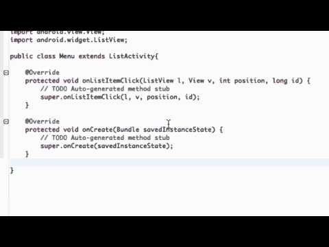 Android Application Development Tutorial - 18 - Create a List Menu from the ListActivity class