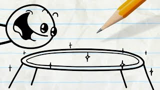 """Pencilmate Finds a Trampoline! -in- """"Special Abouncement"""" Pencilmation"""