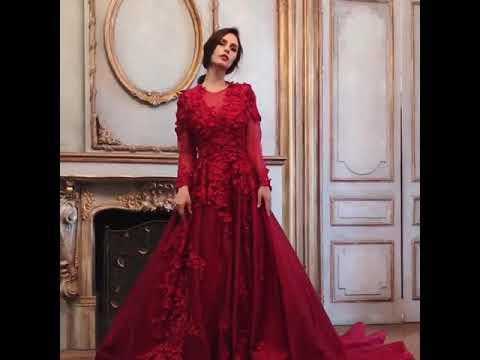 Duchesse Brautkleid Abendkleid Langarm Knöpfe Rücken Rot Satin Blumen Mit Schleppe