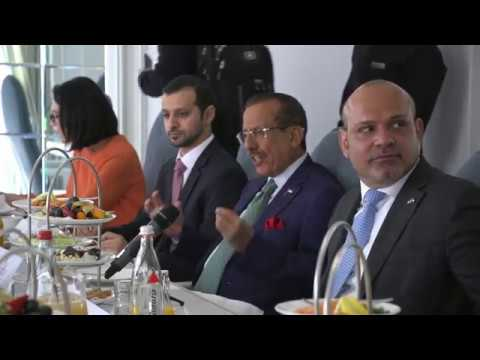 <span style='text-align:left;'>Khalaf Ahmad Al Habtoor, Founding Chairman, Al Habtoor Group talks to international correspondents and journalists at a breakfast briefing organized by the UAE Embassy in Berlin on Monday 10 April 2018. Al Habtoor spoke on a wide range of topics including the benefits of investing in the United Arab Emirates, the strength of the UAE banking sector, recent reforms in Saudi Arabia to support the Kingdom's vision 2030, global politics, the threat of terrorism and his views on US President Donald Trump. Presiding over the open platform of discussion was His Excellency Ali Abdullah Al Ahmad, Ambassador of the UAE to Germany. Attendees included Brian Parkin, Bloomberg political analyst; Thomas Escritt, Senior Correspondent, Thompson Reuters (Markets); Mathias Brüggmann, Head of Foreign Affairs Desk at Handelsblatt newspaper; Christian Gschwendtner, Political Scientist and Journalist at Süddeutsche Zeitung; Wolfgang Hirn, Reporter at Manager Magazin; and Richard Diesing, Freelance journalist reporting for Wirtschaftswoche.</span>