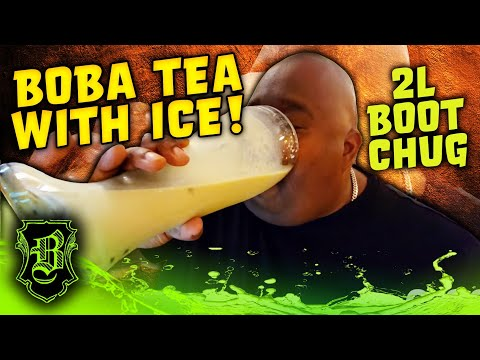 BOBA TEA CHUG Out the 2L. Boot WITH ICE!!!!!