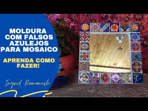 Moldura com falsos azulejos