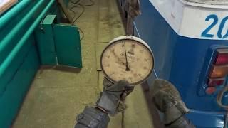 Проверка натяжения штанг (токоприемника) динамометром.