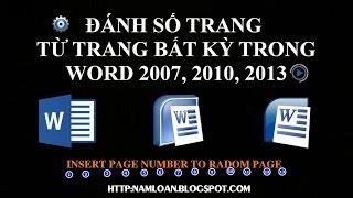 Đánh Số Trang Từ Trang Bất Kỳ Trong Word 2007, 2010, 2013