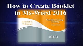 Creating Professional Booklet In Ms Word
