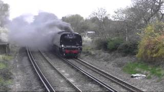 preview picture of video 'Tangmere 34067 between Staines and Egham on 6.4.09 Great Britain II Railtour'