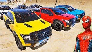 CARROS Pickup com HOMEM ARANHA e SUPER HERÓIS! Desafio de Carros na Mega Rampa - IR GAMES