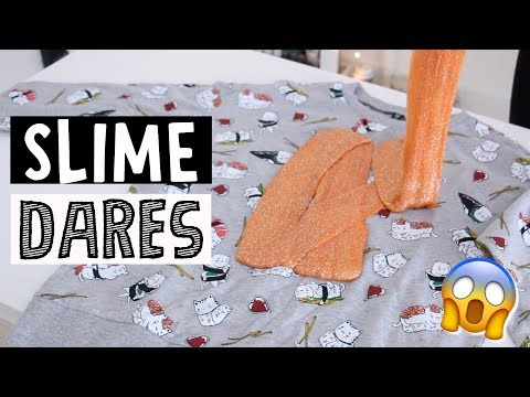 EXTREME SLIME DARES?! *making slime in public*